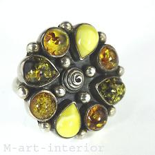 vintage Bernstein Sterling Silber Blüte Blume BoHo Baltic Amber Design Ring