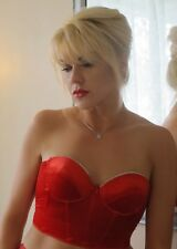 LA PERLA RED VELVET CORSET TOP BRALET EMBELLISHED WITH CRYSTALS SIZE 2
