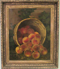 LISTED JOHN FRANCIS 1808-1886  ANTIQUE 19c PEACHES IN THE BASKET PAINTING O/C
