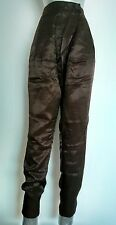 ZARA BASIC tapered pants / trousers size XS chocolate brown satin ---MINT--