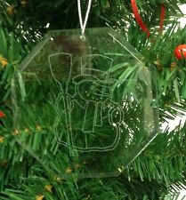 Personalized Crystal Glass Ornament Snowman 2 Christmas Custom Gift