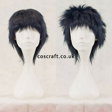 Short layered fluffy spikeable cosplay wig, darkest blue, UK seller, Jack style