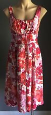 Pre-owned DIANA FERRARI Multi Coloured Floral Print Empire Waist Dress Size 8