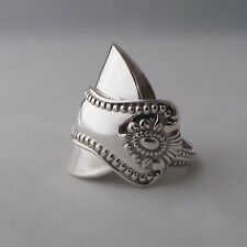 Gorgeous Unusual Handmade Chunky Antique Solid Sterling Silver Spoon Ring