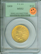 1909 1909-P $10 Gold Indian Eagle Pcgs Ms62 Premium Quality Pq Ogh Green Holder
