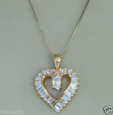 BEAUTIFUL 925 STERLING SILVER GOLD PLATED CZ OPEN HEART NECKLACE/CHAIN & PENDANT