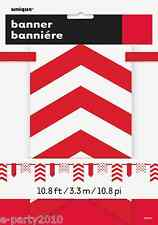 RED CHEVRON AND DOTS PAPER BANNER ~ Birthday Party Supplies Hanging Decorations