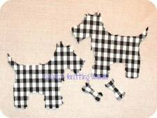 2x4.5in Black & White,Check Cotton Fabric,Cut Out, Iron On,Applique Scottie Dogs