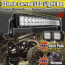 32inch Curved Led Lgiht Bar + 2x 4inch Cree Led Work Pods 4WD Offroad SUV ATV 30
