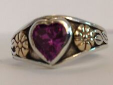 ❤JAMES AVERY AMETHYST HEART RING RETIRED FLOWER 14k Gold SILVER 5.5 w BOX Charm❤