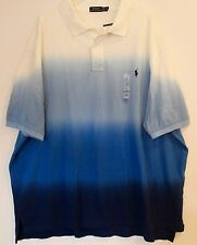 Polo Ralph Lauren Big and Tall Mens Blue Dip Dyed Polo Shirt NWT 2XB