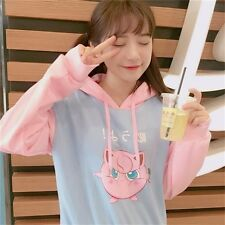 Jigglypuff Purin Pattern Girl's Hoodies Sweaters Coats Cute Students Anime Pink