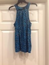 Ann Taylor Turtle neck tank top t-shirt blue cheetah print Size 14