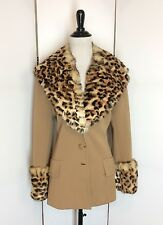Vintage 1960s Lilli Ann Knit Jacket Genuine Rabbit Fur Leopard Print Collar Coat