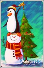WALMART CHRISTMAS TREE PENGUIN RIDING SNOWMAN COLLECTIBLE GIFT CARD