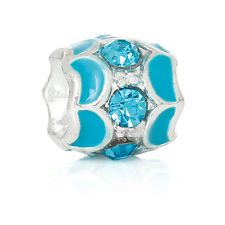 December Birthstone Blue Rhinestone Bead for Silver European Charm Bracelet