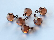 VINTAGE 6 GLASS BEAD COLORADO TOPAZ SWAROVSKI CRYSTAL FACETED CORONA BEADS 8mm