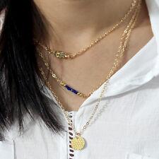 Women Gold Hand Fatima Sequins Bib Collar Statement Blue Beads Choker Necklace