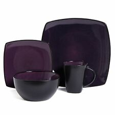 16 Piece Square Reactive Glaze Dinnerware Set Dinner Purple Cup Dishes Kitchen