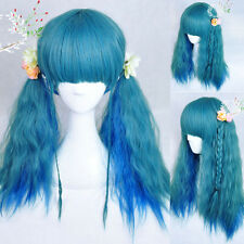 Harajuku Blue Women Corn Wavy Fluffy Anime Wig Halloween Party Long Curly Hair