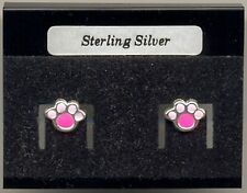 Pink Paw Print Sterling Silver 925 Studs Earrings Carded