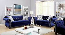 Traditional Formal Gorgeous Blue Sofa Set Living Room Tufted Sofa Loveseat Chair