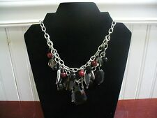 "Vintage 2 Strand Silvertone Metal MultiColored Glass Bead Dangle 17.5"" Necklace"