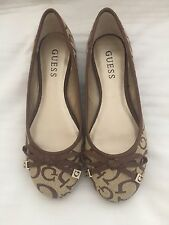 "GUESS GEORGIA BROWN/PANNA JACQUARD ""G"" LOGO BALLET FLATS WOMENS SHOES"