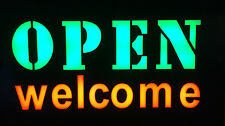 TOP QUALITY RESIN LED OPEN WELCOME SHOP SIGN DISPLAY WINDOW LIGHT