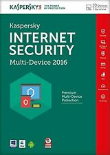 KASPERSKY INTERNET SECURITY 2016 MULTI DEVICE - 10 PC DEVICE - NEW - DOWNLOAD