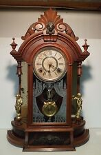 Gilbert Walnut Occidental Parlor Mirror Side Cupid Shelf Mantle Clock