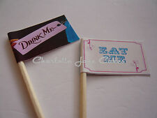 20 CUPCAKE FLAGS / TOPPER - EAT ME.... DRINK ME....