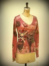 Raw 7 Cashmere Wearable Art  Monarch Butterfly Wing Embellished Skull Size Small
