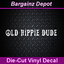 .. Vinyl Decal ... OLD HIPPIE DUDE ...Nice Size Car Laptop Vinyl Sticker Decal