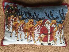 """Christmas Pillow Santa Reindeer Sleigh Snow Home Decor Festive 17' x 12"""""""
