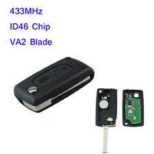 Remote Fob Flip Key 433MHz VA2 Blade ID46 Chip For CITROEN C2 C3 C4 PICASSO C5