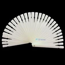 50 False Display Nail Art Fan Wheel Polish Practice Color Pop Tip Stick WhiteJW3