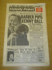 MELODY MAKER 1962 FEBRUARY 17 CHRIS BARBER TUBBY HAYES DAVID JACOBS CLEO LAINE +