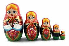 Matryoshka Russian Nesting Doll Wooden Babushka Beautiful Belarussian Girl 5 Pcs
