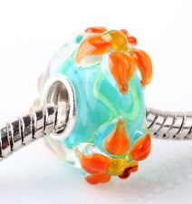 1pcs SILVER MURANO GLASS BEAD LAMPWORK Animal fit European Charm Bracelet ZZ293