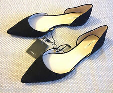 ZARA BLACK FAUX SUEDE LEATHER FLAT PUMPS BALLERINAS  POINTED SHOES 7  40  9  NEW