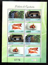 URUGUAY 2013 EXPORT WINE GRAPES,COW MEAT MINISHEET MNH YV 2651-4