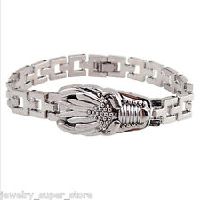 Men Stainless Steel Dragon Head Wristband Watchband Clasp Cuff Bangle Bracelet