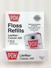 POH Classic White LITEWAX Dental Floss 3 PACK REFILLS = 300 yards MADE IN USA