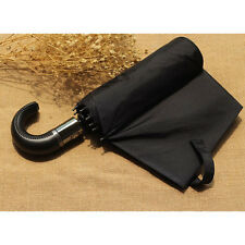 Leather Handle Automatic Umbrellas Wind Resistant Three Folding For Women Men