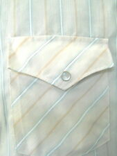 White Horse Mens Western Shirt Med. Tan Brown Stripes Pearl Buttons Long Sleeve