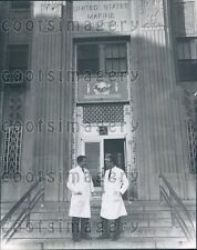 Doctors Confer Outside US Marine Hospital Location Unknown Press Photo