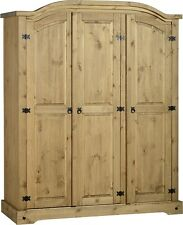 Quality Corona Solid Mexican Pine 3 Door Triple Wardrobe Arch Top