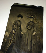 Antique Victorian Fashion Women, Parasols / Umbrellas & Hats! Old Tintype Photo!