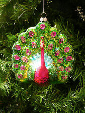 HAND BLOWN & PAINTED MERCURY GLASS PEACOCK CHRISTMAS ORNAMENT